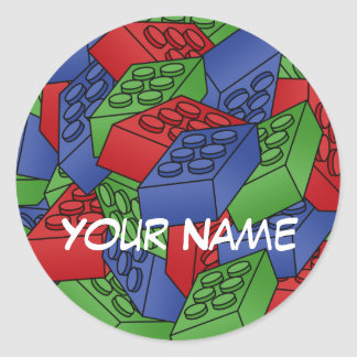 Pattern - Bright Building Blocks Classic Round Sticker