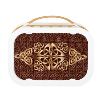 Pattern Celtic Knot on brown background Lunch Box