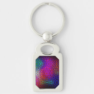 Pattern Color Colorful Dark Silver-Colored Rectangular Metal Keychain