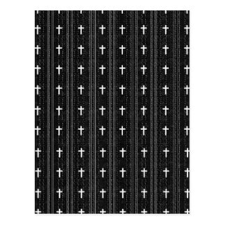 pattern crosses black and white post card