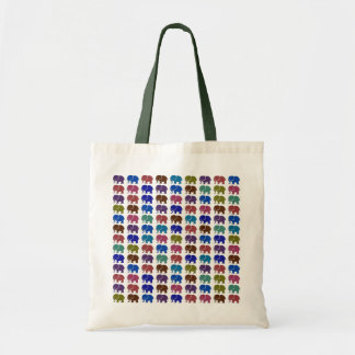 pattern cute color elephants budget tote bag