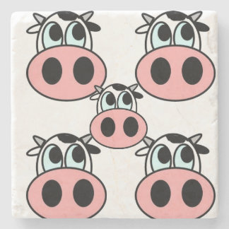 Pattern cute little Cow Marble Stone Coaster