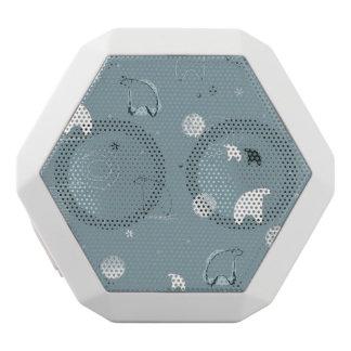 pattern displaying a cute polar white boombot rex bluetooth speaker