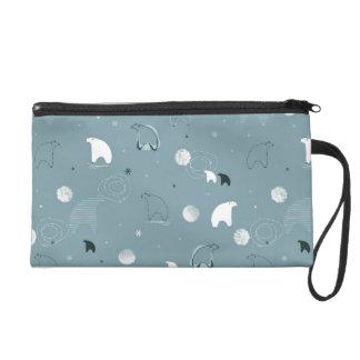 pattern displaying a cute polar wristlet purse