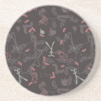 pattern displaying baby animals 1 coaster