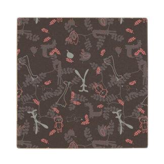 pattern displaying baby animals 1 wood coaster