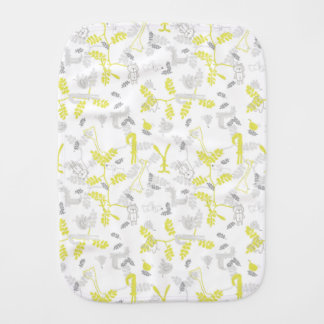 pattern displaying baby animals 2 burp cloth