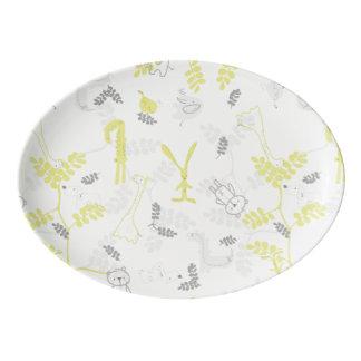 pattern displaying baby animals 2 porcelain serving platter