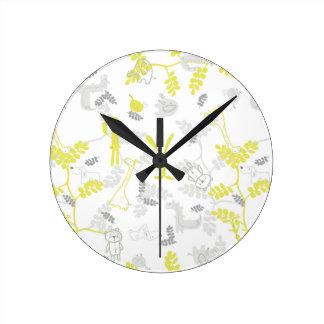 pattern displaying baby animals 2 round clock