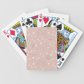 pattern displaying cute baby jungle animals bicycle playing cards