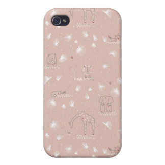 pattern displaying cute baby jungle animals case for iPhone 4