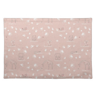 pattern displaying cute baby jungle animals placemat