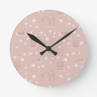 pattern displaying cute baby jungle animals round clock