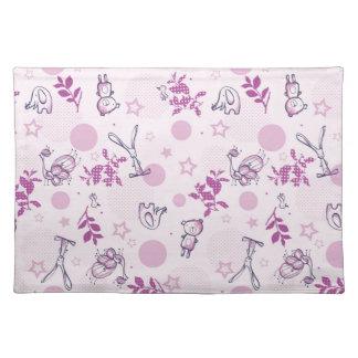 pattern displaying vintage baby animals placemat
