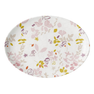 pattern displaying whimsical animals porcelain serving platter