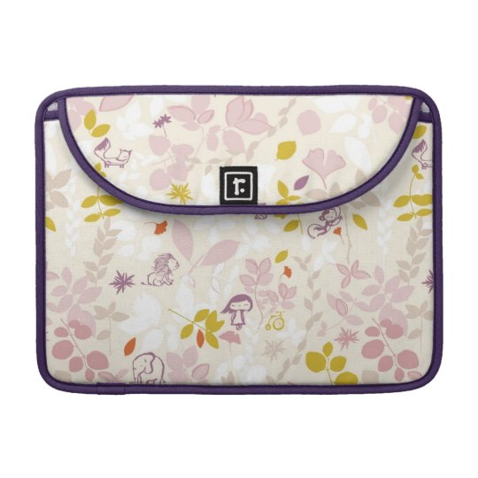pattern displaying whimsical animals sleeves for MacBooks