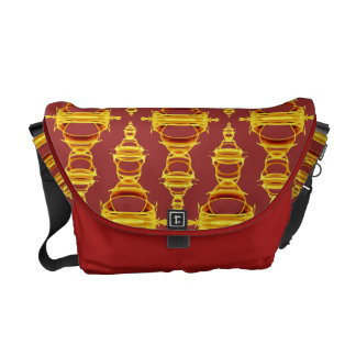Pattern Dividers 03 Golden Brown over Barn Red M Courier Bags