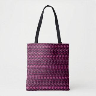 Pattern Dividers 07 in Pink over Black Tote Bag