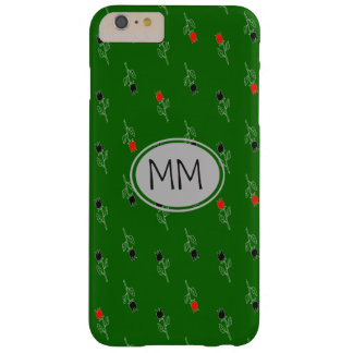 Pattern Flowers Hand Drawn Green Monogram Barely There iPhone 6 Plus Case