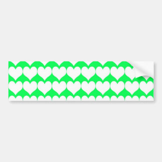 Pattern: Green Background with White Hearts Bumper Sticker