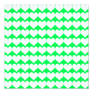 Pattern: Green Background with White Hearts 5.25x5.25 Square Paper Invitation Card