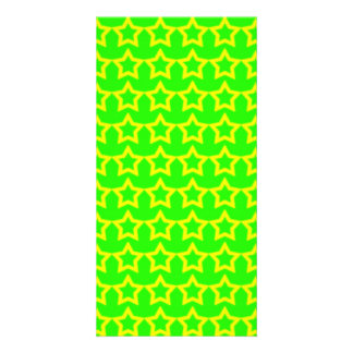 Pattern: Green Background with Yellow Stars Personalised Photo Card