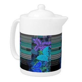 Pattern Green Blue Teapot