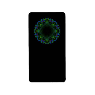 Pattern in Black and Peacock Colors. Address Label