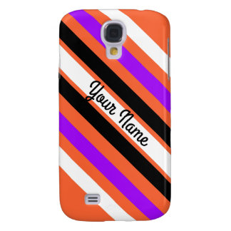 Pattern in Black White Violet Orange Stripes Galaxy S4 Case