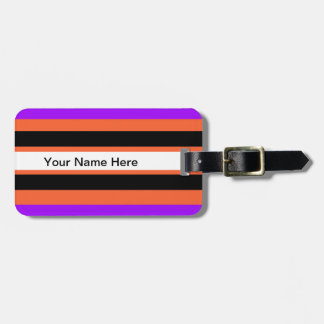 Pattern in Black White Violet Orange Stripes Luggage Tag