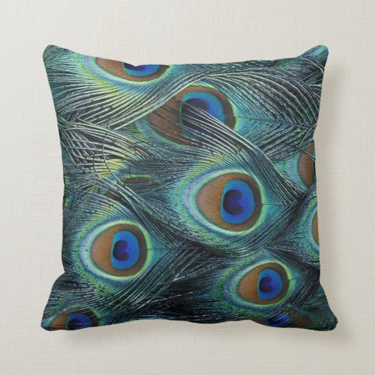 Pattern in male peacock feathers cushion