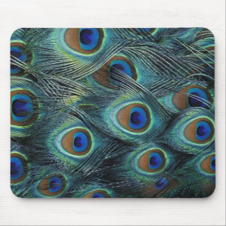Pattern in male peacock feathers mouse mat