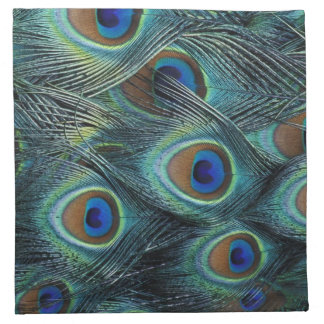 Pattern in male peacock feathers napkin