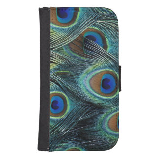 Pattern in male peacock feathers samsung s4 wallet case
