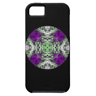 Pattern in Purple, Lime Green, Black and White. Tough iPhone 5 Case