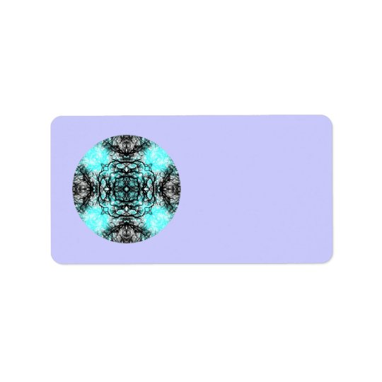 Pattern in Turquoise and Black, on Lilac Purple. Address Label