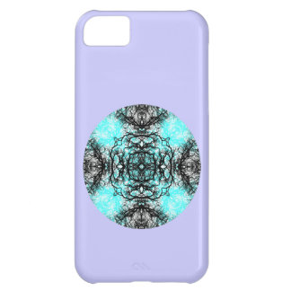 Pattern in Turquoise and Black, on Lilac Purple. iPhone 5C Case