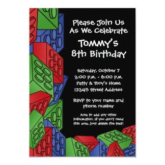Pattern - Kids Building Blocks Birthday Party 13 Cm X 18 Cm Invitation Card