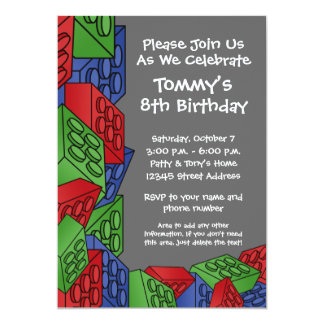 Pattern - Kids Building Blocks Birthday Party 13 Cm X 18 Cm Invitation Card