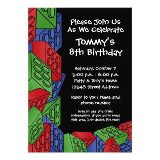 Pattern - Kids Building Blocks Birthday Party Custom Invitations