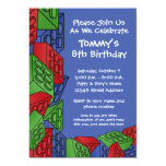 Pattern - Kids Building Blocks Birthday Party Announcements