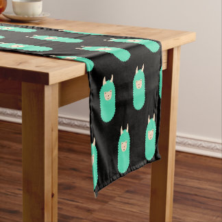 Pattern Llama Happy Emoji Short Table Runner