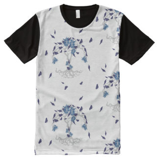Pattern NO.4: Blue & Gray Leafy Flowering Tree All-Over Print T-Shirt
