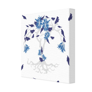 Pattern NO.4: Blue & Gray Leafy Flowering Tree Art Canvas Print