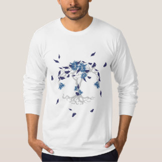 Pattern NO.4: Blue & Gray Leafy Flowering Tree T-Shirt