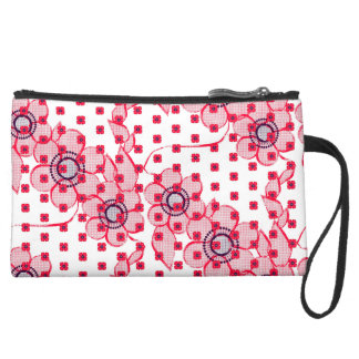 Pattern NO.5: Red & Purple Flower-y Embroidery-ish Suede Wristlet