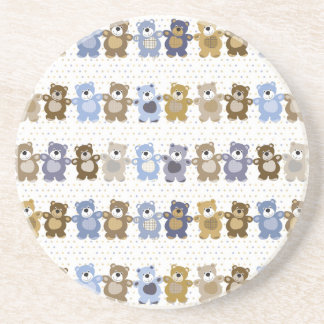 pattern of a toy teddy bear beverage coasters