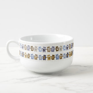 pattern of a toy teddy bear soup bowl with handle