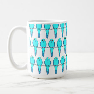 Pattern of Blue Parakeet Birds. Coffee Mug