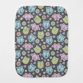 pattern of cartoon owls burp cloth